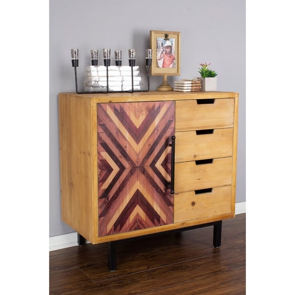 Jackson 4 Drawer/ 1 Door Wooden Cabinet Sideboard