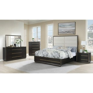 Myory Contemporary Wood Upholstered Panel Bed with Dresser, Mirror, Nightstand, Chest