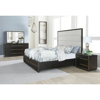 Myory Contemporary Wood Upholstered Panel Bed with Dresser, Mirror, Nightstand