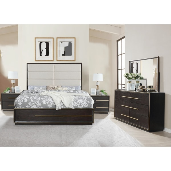 Myory Contemporary Wood Upholstered Panel Bed with Dresser, Mirror, Two Nightstands
