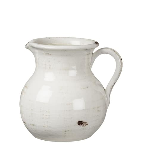 Distressed White Ceramic Pitcher
