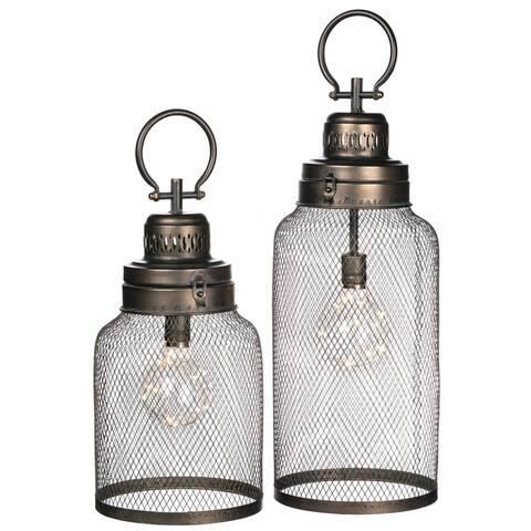 "Led Light Lantern - Set of 2 - 7.5""L x 7.5""W x 15""H, 7.5""L x 7.5""W x 19""H"