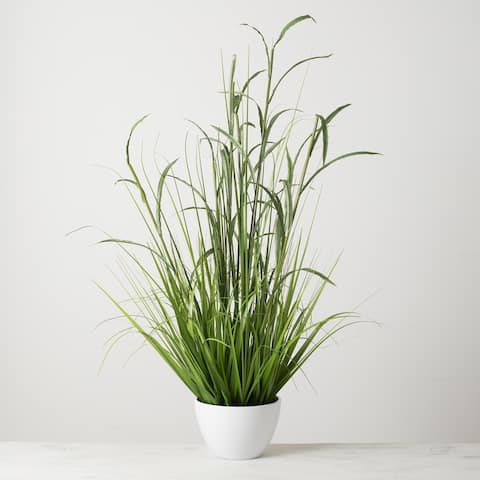 Potted Bamboo with Grass - Green