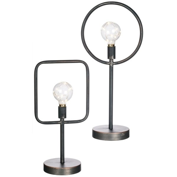 "Led Light Lantern - Set of 2 - 8.5""L x 6""W x 17""H, 9.5""L x 6""W x 21""H"