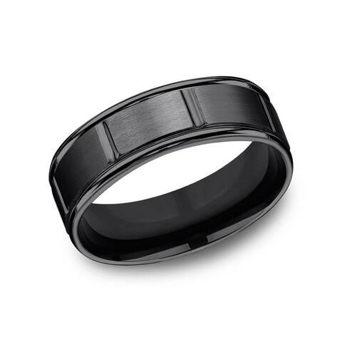 Men's 7mm Black Titanium Round Edge Satin Center Vertical Cut Comfort Fit Band