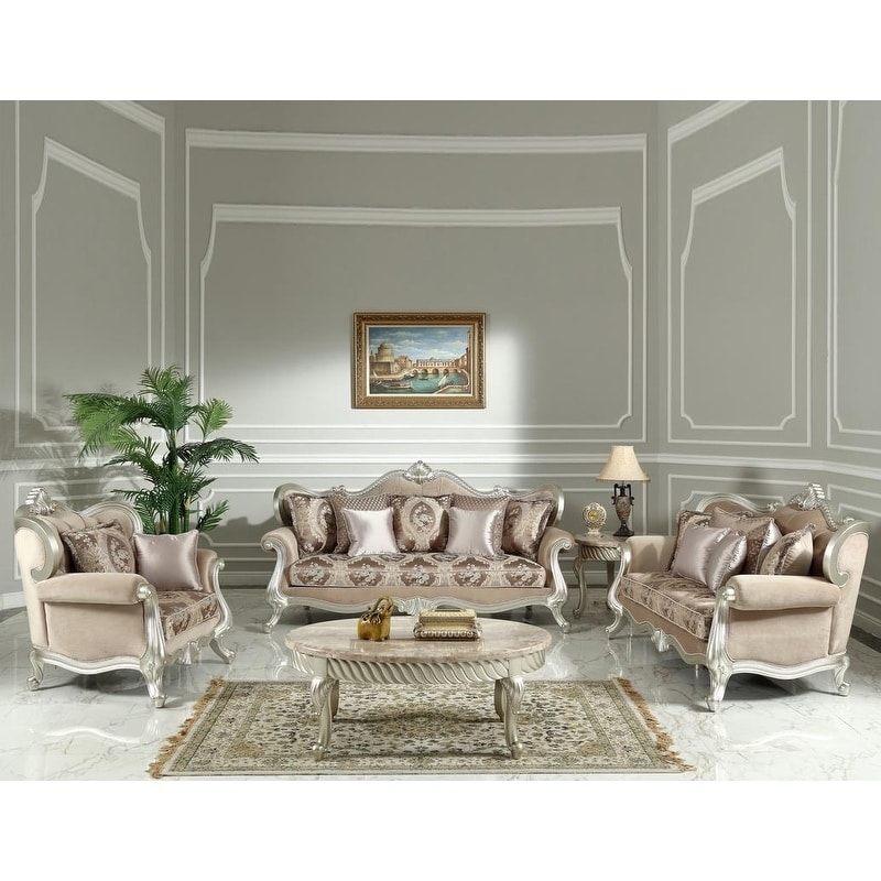 Best Master Furniture 3 Pieces Taupe Fabric with Silver Trimming Set