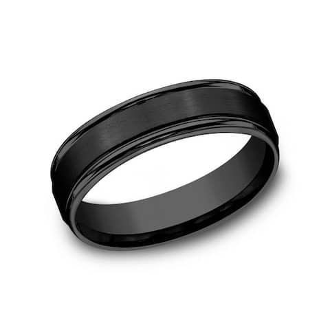 Men's 6mm Black Titanium Round Edge Satin Center Comfort Fit Band