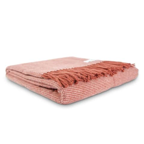 Calyx Interiors Checked Lambswool Blend Throw Blankets Brick/cream with fringe