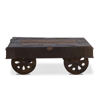 Sterling 48-Inch Reclaimed Iron Wheeled Coffee Table