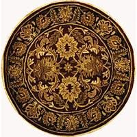 "Safavieh Handmade Classic Jaipur Burgundy/ Black Wool Rug - 3'6"" x 3'6"" round"