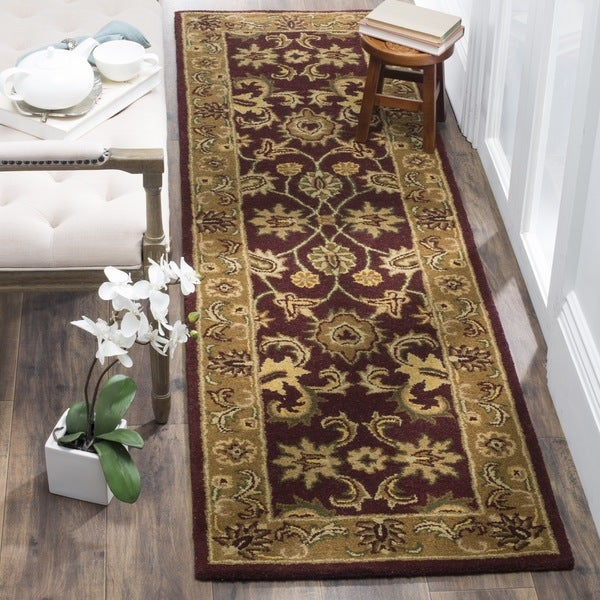 Safavieh Handmade Classic Regal Burgundy/ Gold Wool Runner (2'3 x 10')