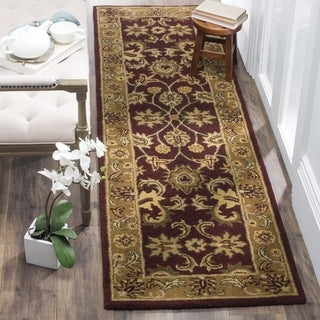 Safavieh Handmade Classic Regal Burgundy/ Gold Wool Runner (2'3 x 12')