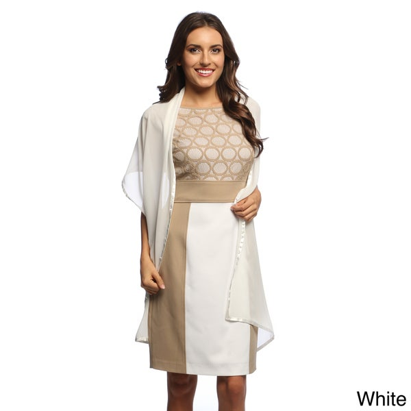 Black/White Satin Border Polyester Oblong Chiffon Wrap (Case of 2)