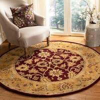"Safavieh Handmade Classic Regal Burgundy/ Gold Wool Rug - 3'6"" x 3'6"" round"