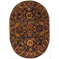 "Safavieh Handmade Classic Regal Black/ Burgundy Wool Rug - 4'6"" x 6'6"" oval"