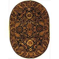 "Safavieh Handmade Classic Regal Black/ Burgundy Wool Rug - 7'6"" x 9'6"" oval"