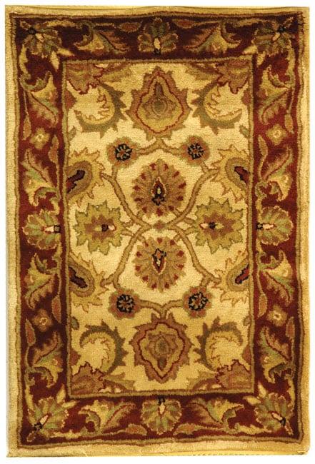 Safavieh Handmade Classic Jaipur Ivory/ Red Wool Rug - 2' X 3'