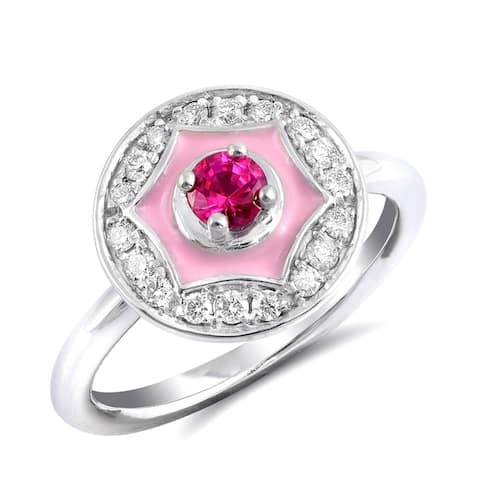 14K White Gold 0.53ct TGW Red Ruby and Diamond Enamel Halo Ring