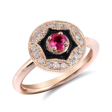 14K Rose Gold 0.54ct TGW Pink Sapphire and Diamond Enamel Halo Ring