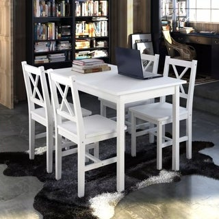 Wooden Table with 4 Wooden Chairs Furniture Set White