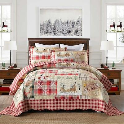 Plaid Patchwork Christmas Quilt Bedspread Set