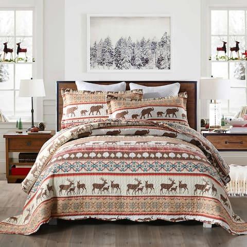 Carbon Loft Medina Rustic Christmas Quilt Bedspread Set