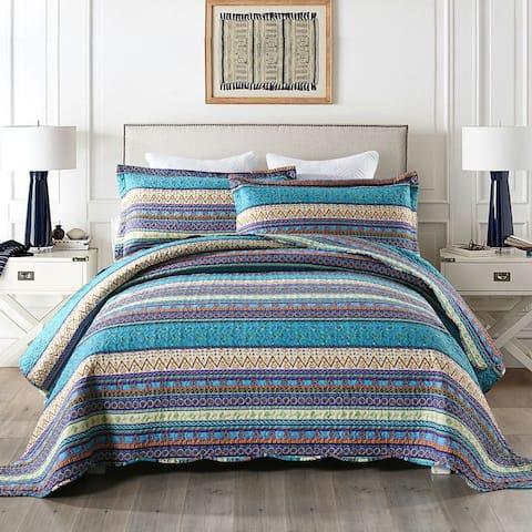 Purple Bohemian Quilt Bedspread Set