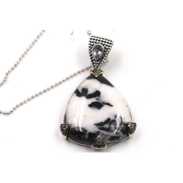 925 Sterling Silver White Topaz Agate Pendant