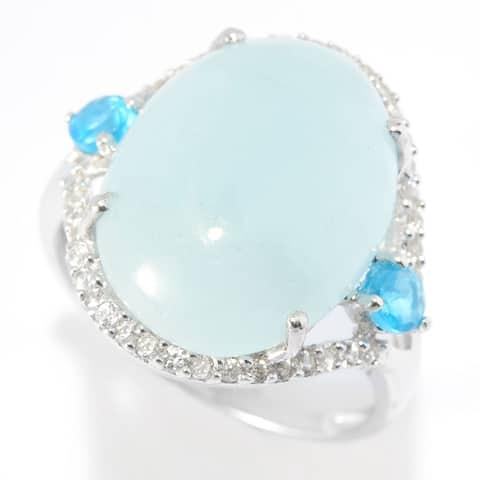 Rhodium Over Sterling Silver 8.1Ctw Milky Aquamarine Ring