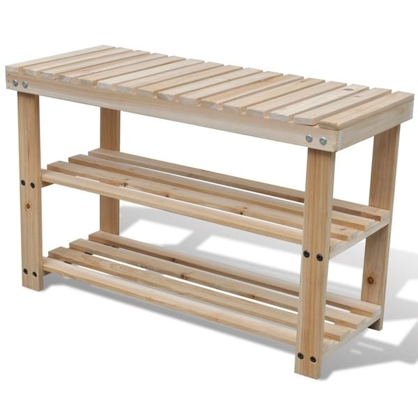 2-in-1 Wooden Shoe Rack with Bench Top - N/A