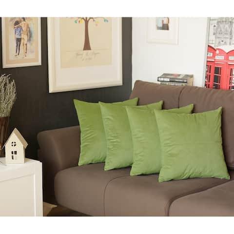 Luxurious Velvet Decorative Square Throw Pillow Cover (4 Pcs in set)