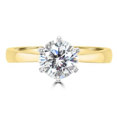 1.3ct TDW Soilatire Moissanite Tapered Ring 14 Karat Yellow Gold