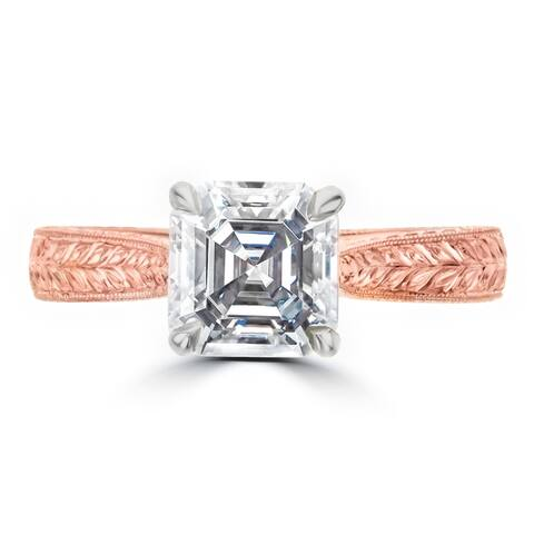 1.8ct Hand Engraved Asscher Cut Moissanite 14 Karat Rose Gold Ring