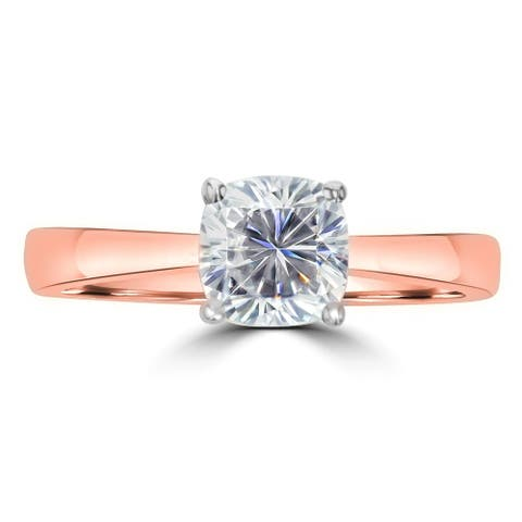 1.1ct TDW Cushion Cut Soilatire Moissanite Tapered Ring 14 Karat Rose Gold