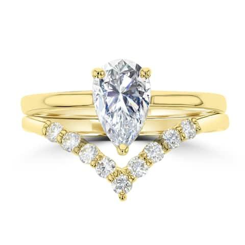 1.06ct Pear Cut Moissanite Ring Set 14 Karat Yellow Gold