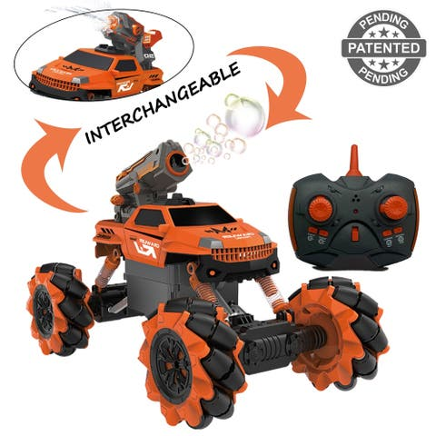 Vaiyer RC Remote Control Car for Kids with Interchangeable Toy Bubble Blaster and Water Gun Tops, Rock Crawler Outdoor Vehicle