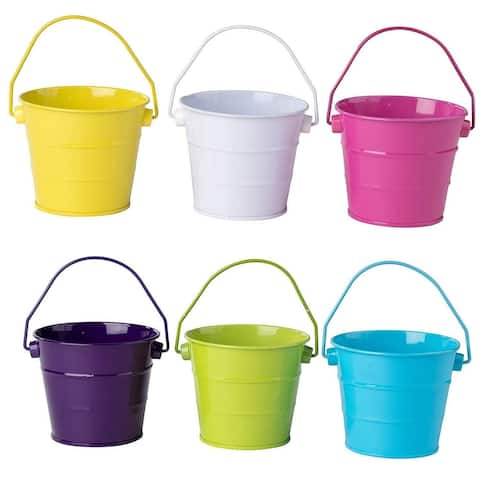 6-Pack Colorful Small Metal Buckets with Handles for The Beach, Party, Easter