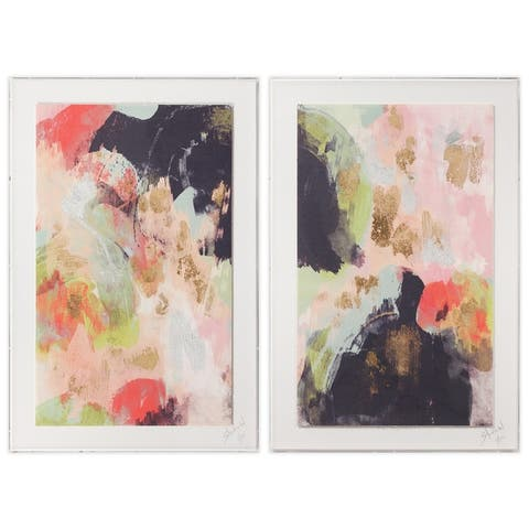 Abstract Diptych Wall Art,Deckled Artisan Paper with Metal Leaf in Acrylic Box