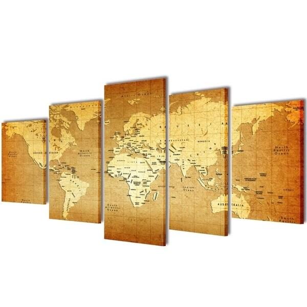 "Canvas Wall Print Set World Map 39"" x 20"""