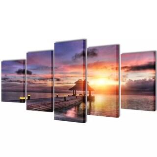 "Canvas Wall Print Set Beach with Pavilion 39"" x 20"""