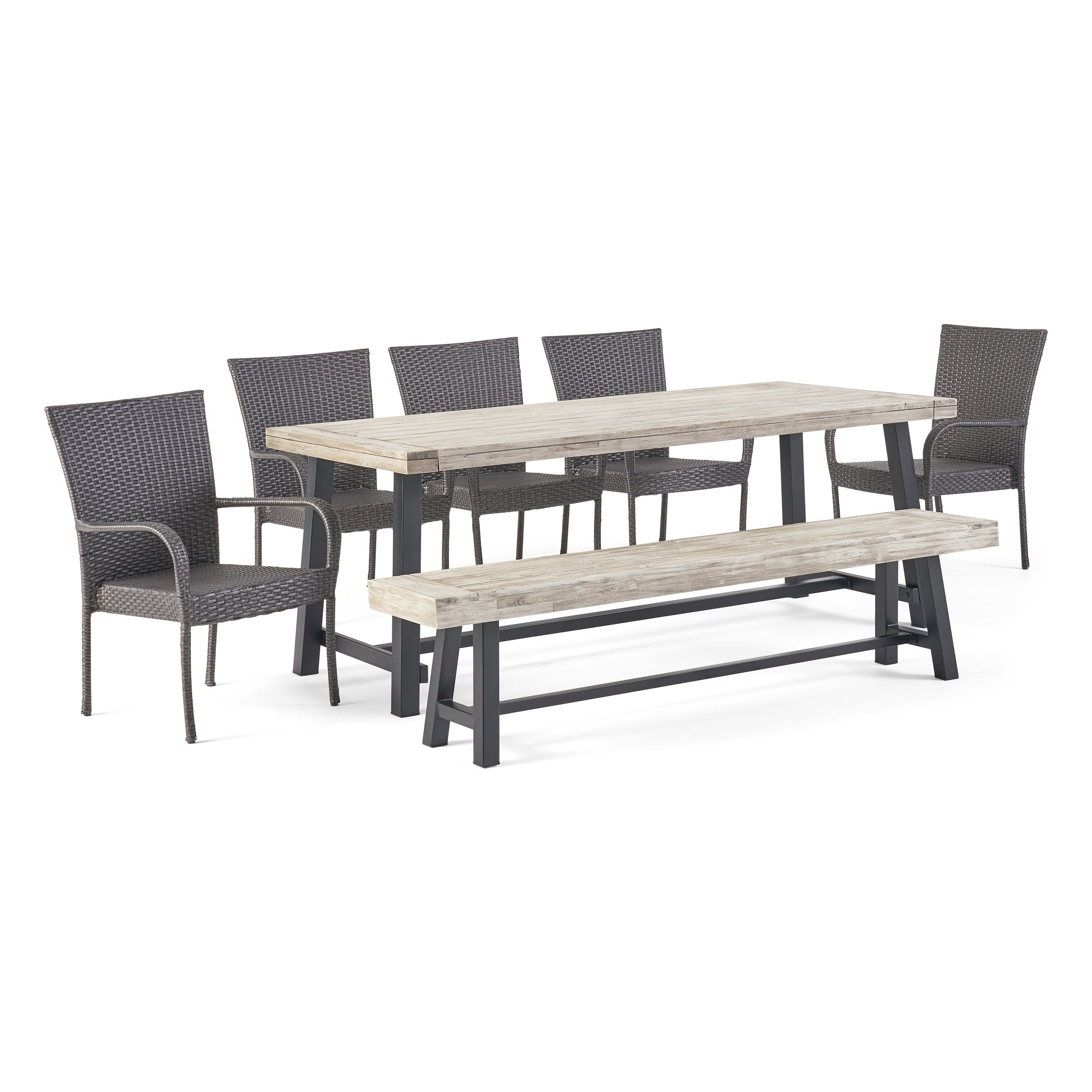 Lyons Outdoor Rustic Acacia Wood 8 Seater Dining Set With Bench By Christopher Knight Home