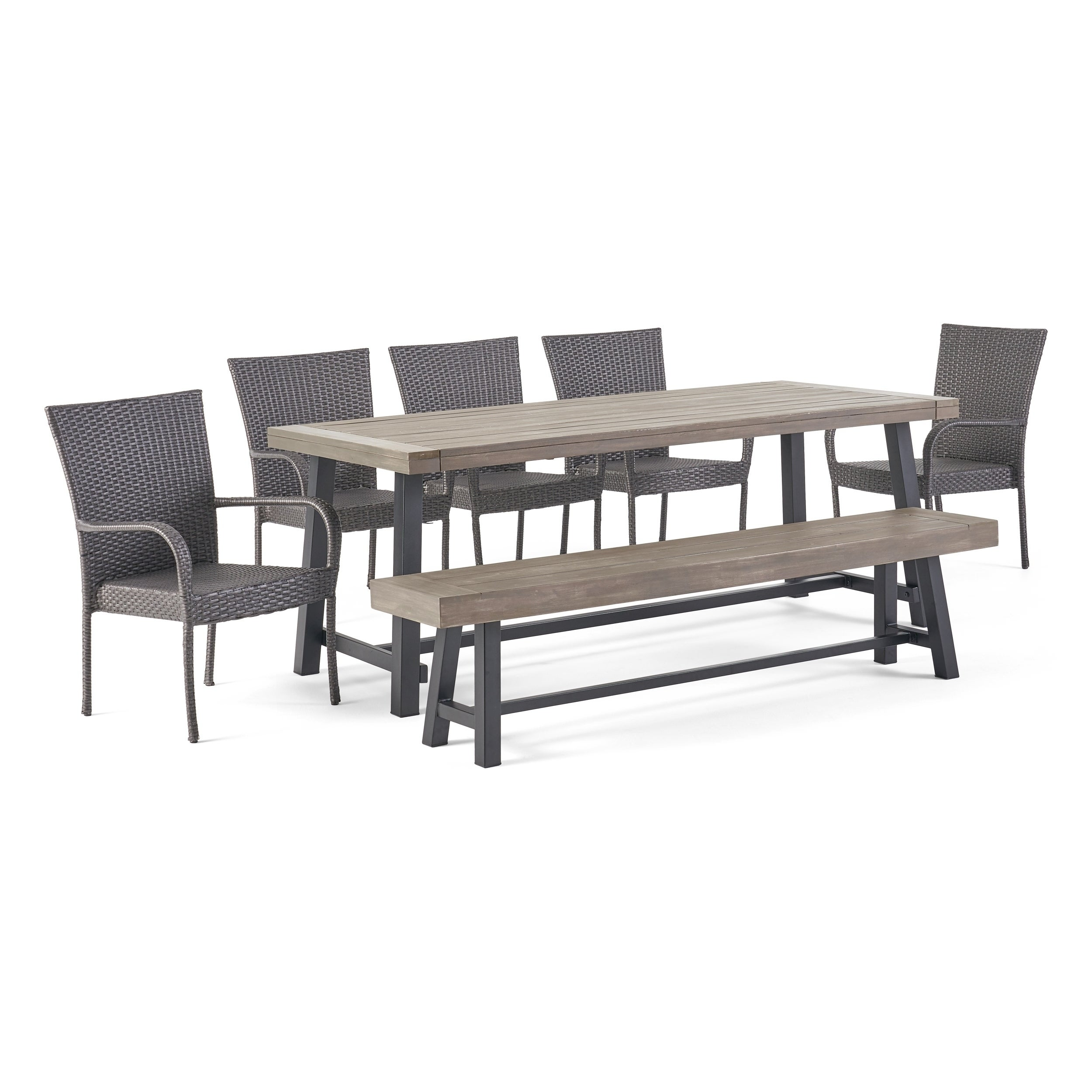 Picture of: Shop Black Friday Deals On Lyons Outdoor Rustic 8 Seater Dining Set By Christopher Knight Home Overstock 30115193 Teak Finish Black Multi Brown