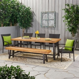 Lyons Outdoor Rustic Acacia Wood 8 Seater Dining Set with Dining Bench by Christopher Knight Home