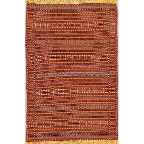 "Geometric Striped Turkish Kilim Oriental Area Rug Wool Hand-Woven - 3'2"" x 4'8"""