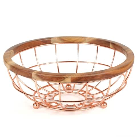Creative Home Deluxe Acacia Wood and Wire Fruit Basket with Copper Finish