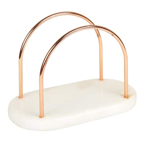 Creative Home Off-White Marble and Wire Napkin Holder with Copper Finish