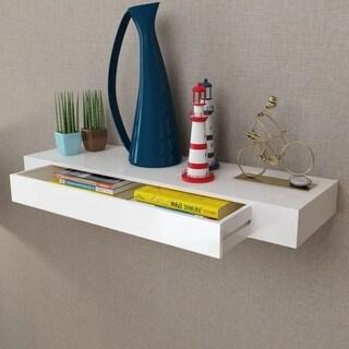 White MDF Floating Wall Display Shelf 1 Drawer Book/DVD Storage