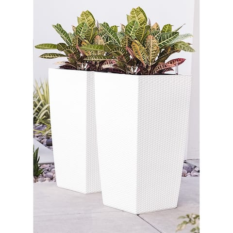 Xbrand Nested Rattan Self Watering Square Planter Pot, Set of 2, 30 Inch Tall, White