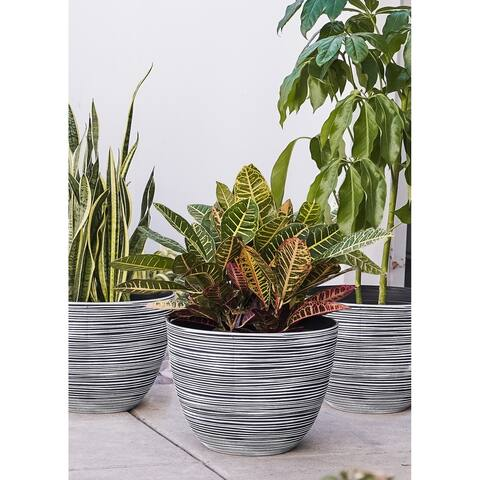 Xbrand Modern Nested Round Textured Pot Planter, Set of 3, 12 Inch Tall, White