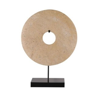 Lily's Living Jade Disk Statue With Base, 12 Inch Tall, Brown